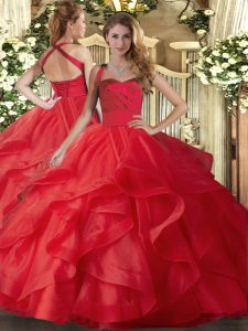 Red Tulle Lace Up Halter Top Sleeveless Floor Length Vestidos de Quinceanera Ruffles