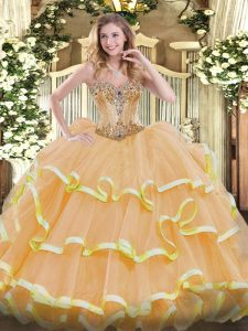 Custom Design Gold Ball Gowns Beading and Ruffles Quinceanera Gown Lace Up Organza Sleeveless Floor Length
