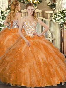 Trendy Orange Straps Neckline Beading and Ruffles Vestidos de Quinceanera Sleeveless Lace Up