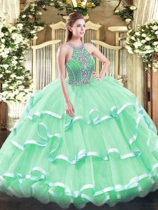 Excellent Ball Gowns Sweet 16 Dress Apple Green Halter Top Tulle Sleeveless Floor Length Lace Up