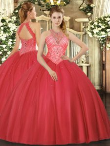 Dramatic Floor Length Red Quinceanera Gown High-neck Sleeveless Lace Up