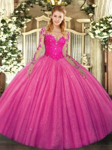 Sumptuous Hot Pink Lace Up Scoop Lace Ball Gown Prom Dress Tulle Long Sleeves