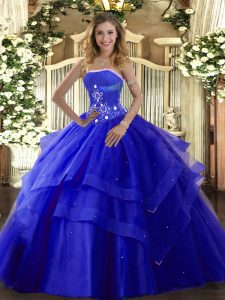 40db42fcd9b Floor Length Lace Up 15th Birthday Dress Royal Blue for Military Ball and  Sweet 16 and ...