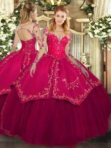 Comfortable Scoop Long Sleeves Organza and Taffeta 15 Quinceanera Dress Lace and Embroidery Lace Up