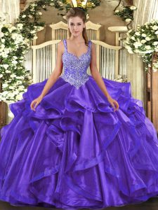 Beauteous Straps Sleeveless Lace Up Quince Ball Gowns Purple Organza