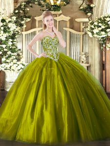 Smart Olive Green Tulle Lace Up Quinceanera Dresses Sleeveless Floor Length Beading