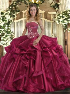 Comfortable Ball Gowns Quinceanera Gowns Red Strapless Organza Sleeveless Floor Length Lace Up