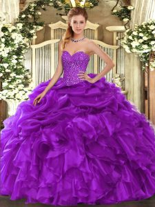 Luxury Purple Sweet 16 Dress Military Ball and Sweet 16 and Quinceanera with Beading and Ruffles and Pick Ups Sweetheart Sleeveless Lace Up