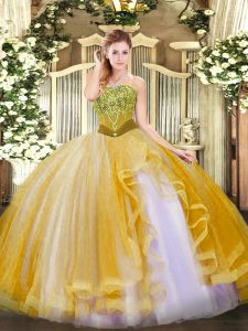 Artistic Floor Length Gold Quinceanera Gowns Strapless Sleeveless Lace Up