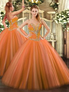Designer Floor Length Orange Red Vestidos de Quinceanera Tulle Sleeveless Beading