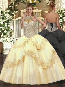 Gold Halter Top Neckline Beading and Appliques Sweet 16 Dresses Sleeveless Lace Up
