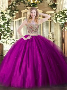 Vintage Floor Length Two Pieces Sleeveless Fuchsia Sweet 16 Dresses Lace Up