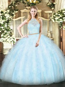 Gorgeous Sleeveless Zipper Floor Length Lace and Ruffles Quinceanera Dresses