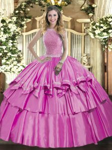 Traditional High-neck Sleeveless 15th Birthday Dress Floor Length Beading and Ruffled Layers Lilac Organza and Taffeta