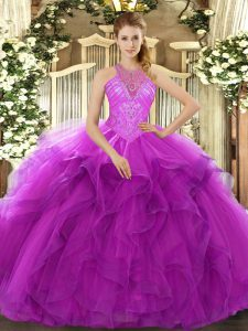 High Quality Sleeveless Organza Floor Length Lace Up Sweet 16 Quinceanera Dress in Fuchsia with Beading and Ruffles