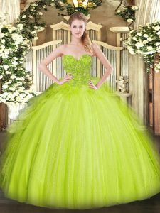 High Class Yellow Green Sweet 16 Dresses Military Ball and Sweet 16 and Quinceanera with Lace Sweetheart Sleeveless Lace Up