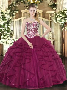Discount Sweetheart Sleeveless Tulle Quince Ball Gowns Beading and Ruffles Lace Up