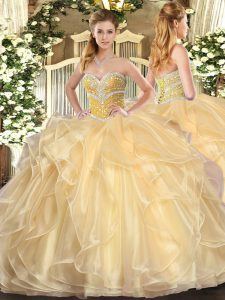 Champagne Organza Lace Up Sweetheart Long Sleeves Floor Length Vestidos de Quinceanera Beading and Ruffles
