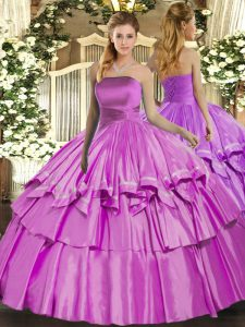 Vintage Floor Length Lace Up Sweet 16 Dresses Lilac for Military Ball and Sweet 16 and Quinceanera with Ruffled Layers