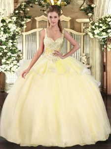 Simple Gold Straps Lace Up Beading Sweet 16 Dresses Sleeveless