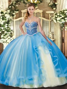 Simple Floor Length Ball Gowns Sleeveless Baby Blue Quinceanera Dresses Lace Up