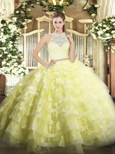Custom Designed Tulle Sleeveless Floor Length Quince Ball Gowns and Lace and Ruffled Layers