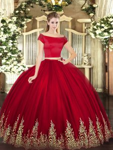 Wine Red Zipper Off The Shoulder Appliques 15th Birthday Dress Tulle Short Sleeves