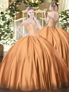 Satin Off The Shoulder Sleeveless Lace Up Beading Quinceanera Gowns in Rust Red