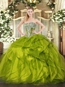 High Quality Strapless Sleeveless Organza Vestidos de Quinceanera Beading and Ruffled Layers Lace Up