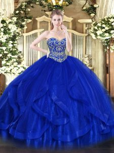 Beautiful Royal Blue Ball Gowns Tulle Sweetheart Sleeveless Ruffles Floor Length Lace Up Quinceanera Dress