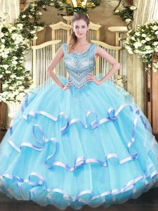 Floor Length Lace Up Quinceanera Dresses Aqua Blue for Military Ball and Sweet 16 and Quinceanera with Beading and Ruffled Layers