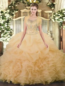 Superior Scoop Sleeveless Tulle Sweet 16 Quinceanera Dress Beading and Ruffled Layers Clasp Handle