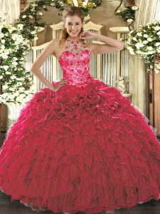 Organza Halter Top Sleeveless Lace Up Beading and Ruffles Sweet 16 Dresses in Red
