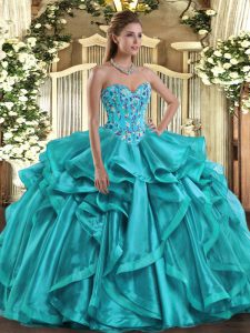 Teal Sleeveless Embroidery and Ruffles Floor Length 15th Birthday Dress