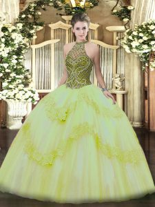 Trendy Floor Length Lace Up 15 Quinceanera Dress Light Yellow for Military Ball and Sweet 16 and Quinceanera with Beading and Appliques
