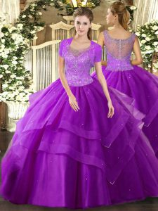 Floor Length Ball Gowns Sleeveless Eggplant Purple Quince Ball Gowns Clasp Handle