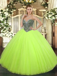 Shining Yellow Green Lace Up Sweet 16 Dresses Beading Sleeveless Floor Length