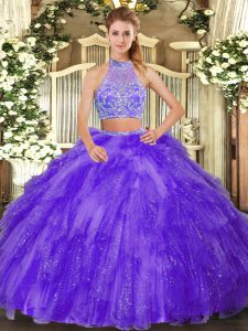 Purple Sleeveless Tulle Criss Cross 15th Birthday Dress for Military Ball and Sweet 16 and Quinceanera