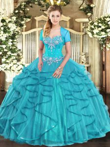 Modern Aqua Blue Tulle Lace Up 15 Quinceanera Dress Sleeveless Floor Length Beading and Ruffles