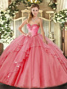 Wonderful Watermelon Red Sleeveless Beading and Ruffled Layers Floor Length Quinceanera Dresses