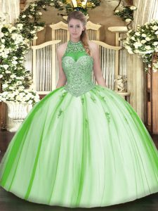 Sleeveless Floor Length Beading and Appliques Lace Up Quince Ball Gowns