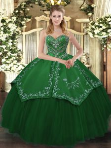 Lovely Green Taffeta and Tulle Lace Up Vestidos de Quinceanera Sleeveless Floor Length Beading and Pattern