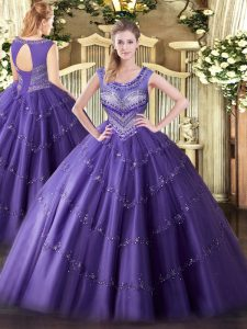 Purple Lace Up Vestidos de Quinceanera Beading and Appliques Sleeveless Floor Length