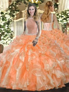 Flirting Orange Red Ball Gowns High-neck Sleeveless Organza Floor Length Lace Up Beading and Ruffles 15 Quinceanera Dress
