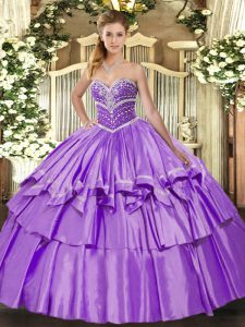 Custom Designed Floor Length Lavender Ball Gown Prom Dress Organza and Taffeta Sleeveless Beading and Ruffled Layers