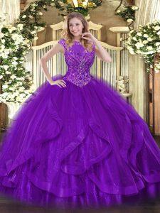 Flare Floor Length Purple Vestidos de Quinceanera Scoop Sleeveless Zipper
