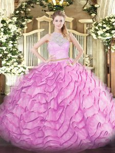 Unique Rose Pink 15 Quinceanera Dress Military Ball and Sweet 16 and Quinceanera with Lace and Ruffled Layers Scoop Sleeveless Brush Train Zipper