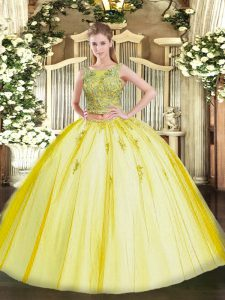 Hot Sale Tulle Scoop Sleeveless Lace Up Beading and Appliques Sweet 16 Dress in Yellow