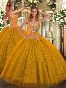 Sleeveless Lace Up Floor Length Beading Sweet 16 Quinceanera Dress