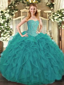 Latest Turquoise Lace Up Sweet 16 Quinceanera Dress Beading and Ruffles Sleeveless Floor Length